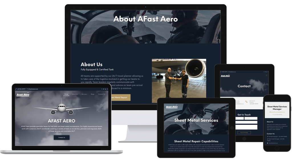 Different screen sizes to display Afast Aero new website design and development