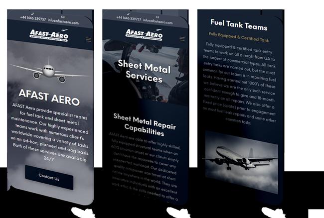 New Afast Aero website design displayed on a series of phones