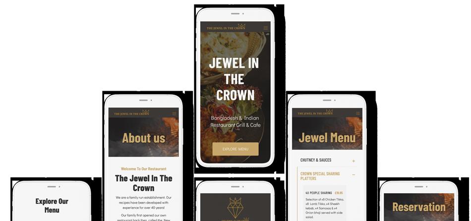 New restaurant web design displayed across phone screens