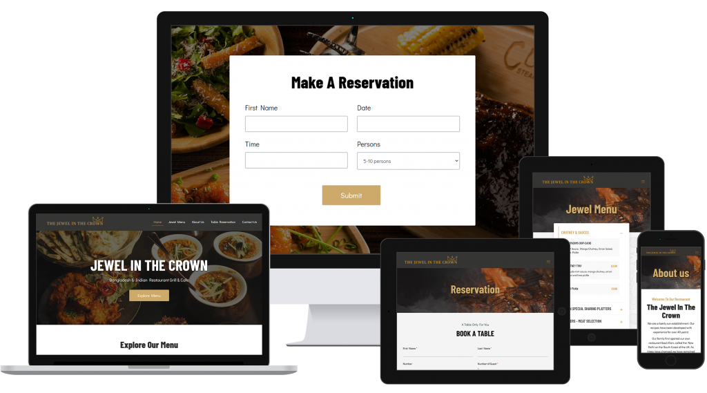 New website design for restaurant displayed on different size screens