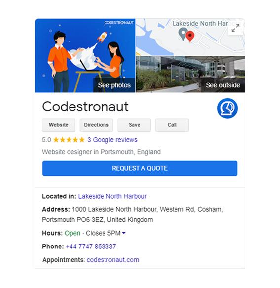Codestronaut Google My Business Listing