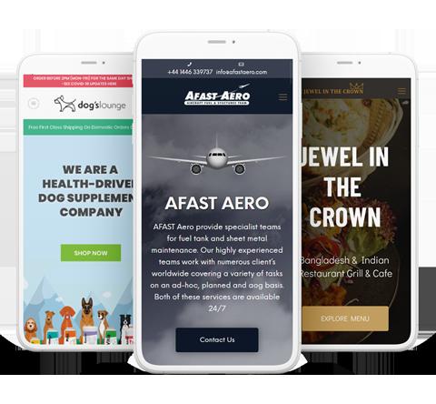 WordPress websites shown on a phone screen, designed by Codestronaut